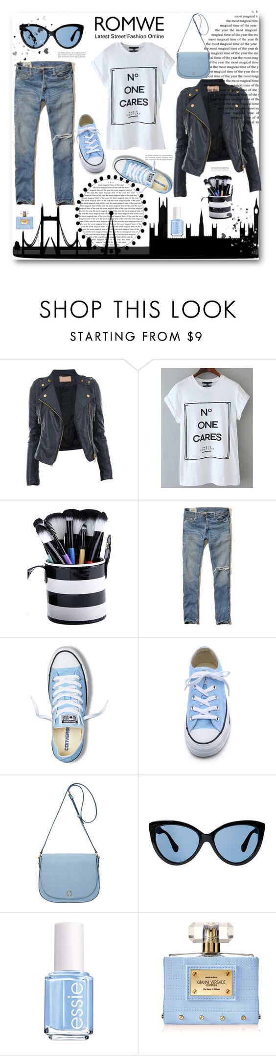 """""""WIN A ROMWE LETTER PRINT WHITE T-SHIRT!"""" by angelstar92 ❤ liked on Polyvore featuring moda, Hollister Co., Converse, Oroton, MANGO, Essie y Versace"""