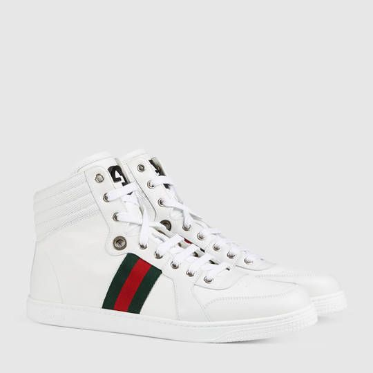 Baskets montantes en cuir Gucci Baskets Homme