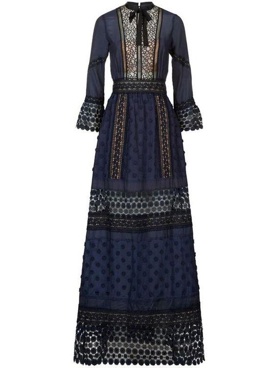 Vestido maxi con croché cordón en cuello - azul marino-Spanish SheIn(Sheinside)