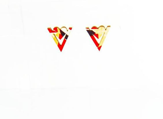 Love Triangle Stud - Amber  African inspired jewelry  #TeesDesigns #AfricanPrints #Jewelry