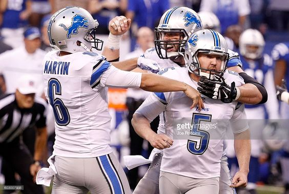 Matt Prater #5 of the Detroit Lions celebrates with teammates after kicking the game winning field goal in the fourth quarter of the game against the Indianapolis Colts at Lucas Oil Stadium on September 11, 2016 in Indianapolis, Indiana.