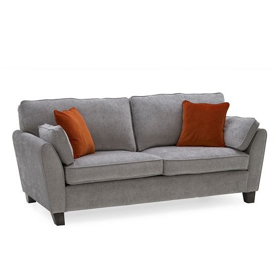 Carmela Fabric 3 Seater Sofa In Silver With Wooden Legs Fabric Sofa Uk Sofa Fabric Sofa