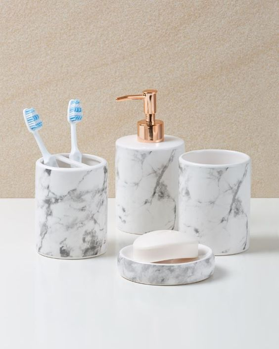 50 marble ideas you 39 ll fall in love with home decor for Blue and gold bathroom accessories