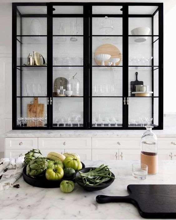 Kitchen with black metal and glass shelving + Marble Countertop + Kitchen Design #kitchen #marble #metalshelves