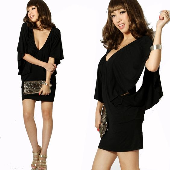 Krazy Sexy Club Cocktail Party Dress #073 Black