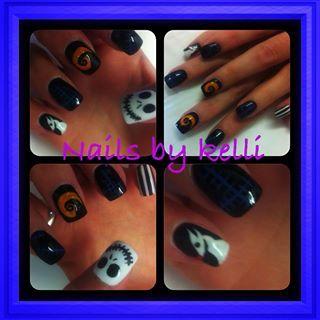 Nightmare before Christmas nail extensions by Kelli  #halloweennails #Halloween #salonsdirect #nailart #nailspiration