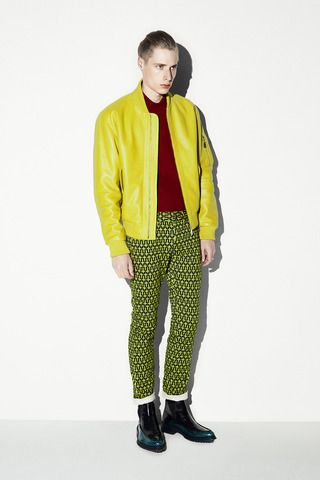 Yellow ft. Burgundy / Green Pants / McQ Alexander McQueen Spring 2014 Menswear