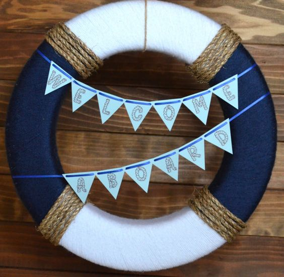 Nautical Preserver Wreath Yarn Banner Wreath by HouseOfMark, $48.00