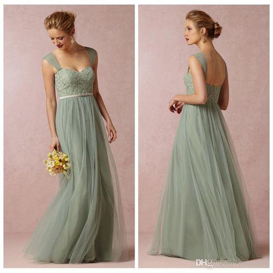 Long Sage Green Bridesmaid Dresses