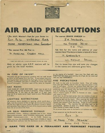 Cards like this were sent to every home. They told people what to do if there was an air raid.