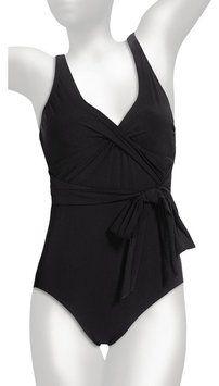 Lands End Lands End Women's Black Lela Beach V-Neck One Piece Sash Swimsuit Size 18 (XL)
