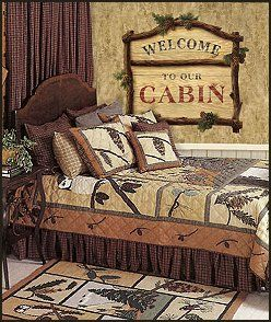 Lodge Cabin Log Themed Bedroom Decorating Ideas Moose Fishing Camping Hunting Bedrooms For