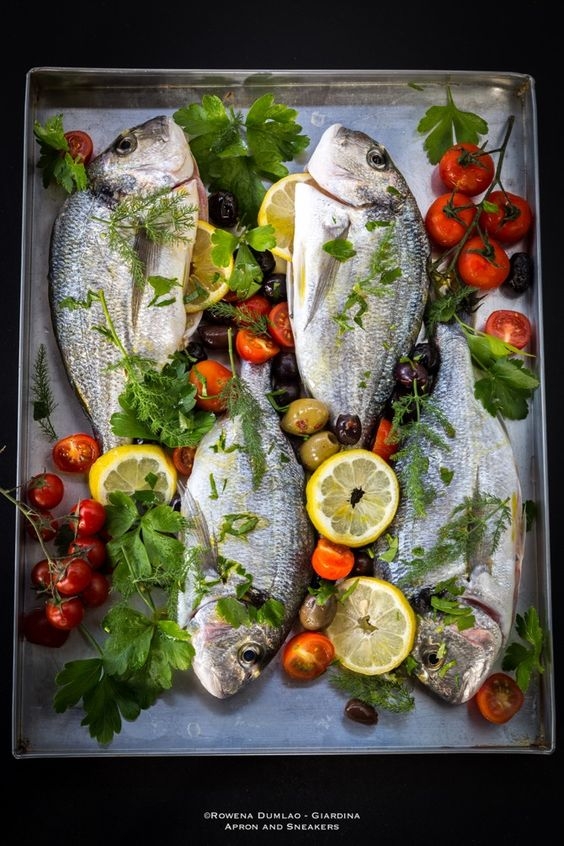 Roasted Sea Bream with Tomatoes, Olives and Lemon