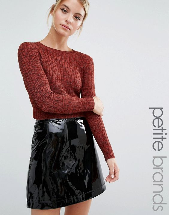 Image 1 of Miss Selfridge Petite Rib Cropped Jumper