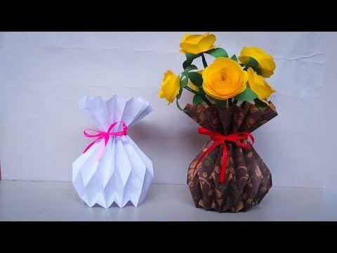 Cara Membuat Vas Bunga Cantik Dari Kertas Cara Buat Pot Bunga Youtube Diy And Crafts Crafts Origami