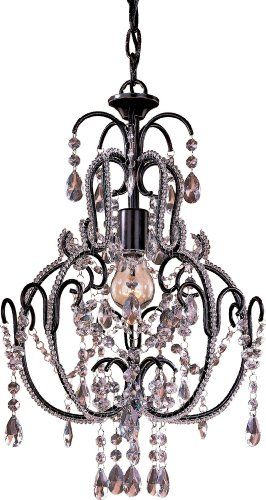 "Minka Lavery Miniature Chandeliers 3123-489 Mini 1-LT 60w (20""H x 12 1/2""W) Chandelier in Bronze - Amazon.com"