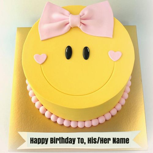 Cute Smiley Birthday Wishes Cake For Girl With Name Cute