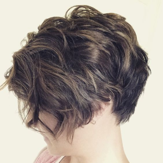 Curly, Disconnected, Asymmetric Pixie #shorthair