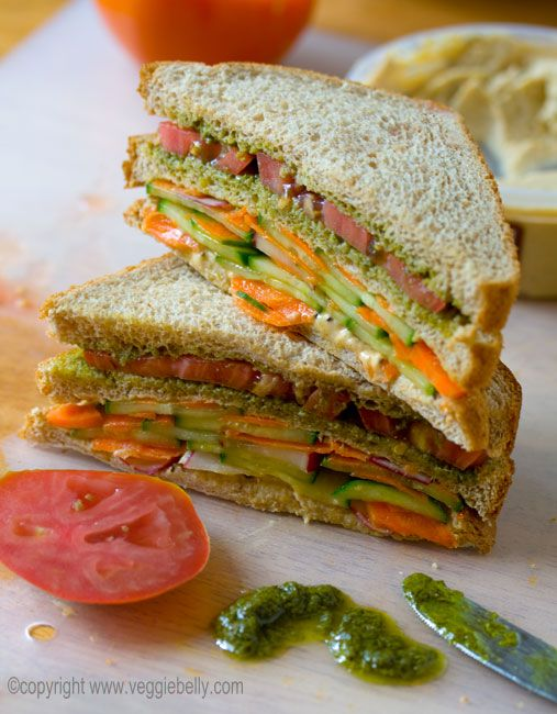 double layer summer vegetable sandwich w/hummus and pesto