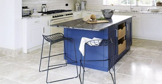 cobalt blue kitchen island | Found on firedearth.com