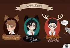 ~The Marauders Moony Padfoot Prongs, and the worst friend in the history of the wizarding world, Wormtail