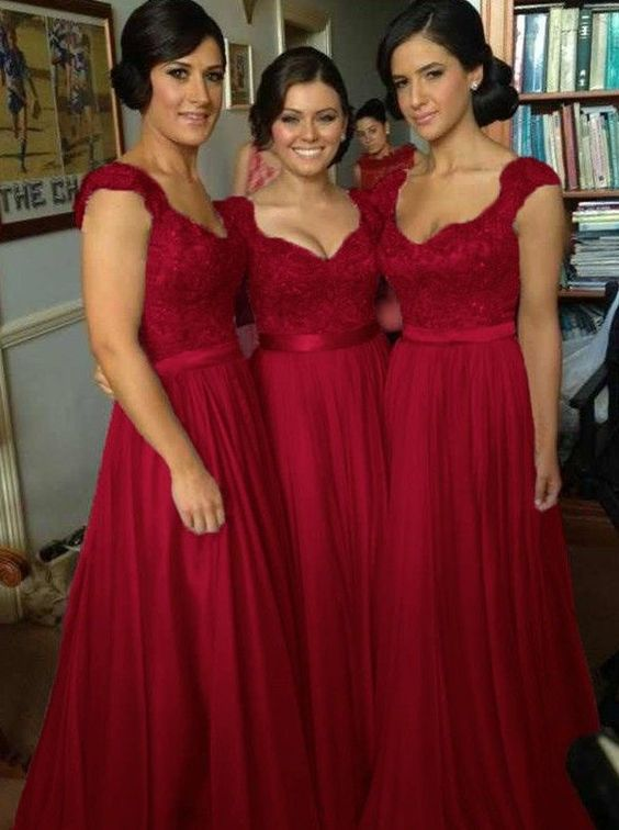Buy Elegant V-neck Floor Length Chiffon Sleeveless Red Bridesmaid Dress Bridesmaid Dresses under US$ 98.99 only in SimpleDress.