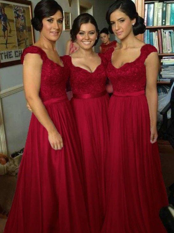 Buy Elegant V-neck Floor Length Chiffon Sleeveless Red Bridesmaid Dress Bridesmaid Dresses under US$ 98.99 only in SimpleDress.