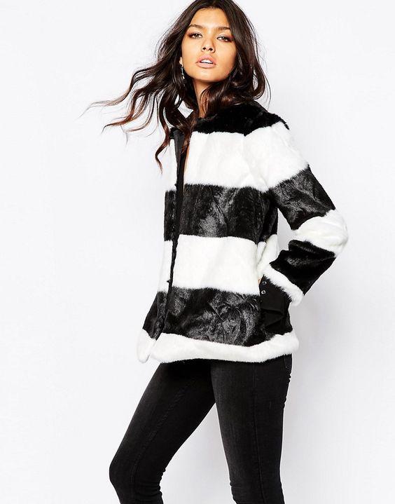 Image 1 ofMango Faux Fur Stripe Coat