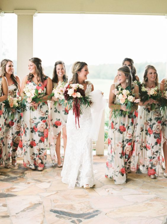 Floral printed bridesmaid dresses: http://www.stylemepretty.com/georgia-weddings/hartwell/2015/11/19/classic-southern-wedding-4/ | Photography: Sawyer Baird - http://www.sawyerbaird.com/