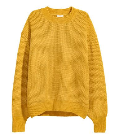 Yellow. Wide-cut sweater in a soft, rib knit with wool content. Low dropped shoulders, long sleeves, and ribbing at neckline, cuffs, and hem.