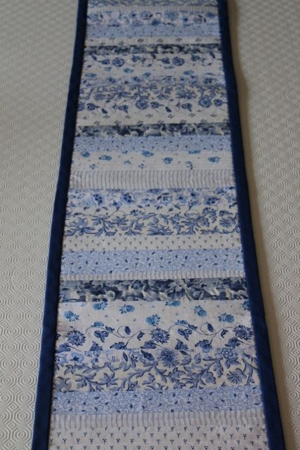 Table runner long navy white and blue fabrics for Table 3m long