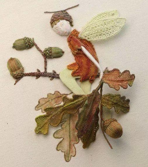 silk acorns, leaves, fairy