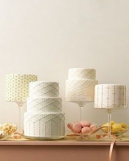 Wedding cakes inspired by Japanese Sashiko stitching from Martha Stewart