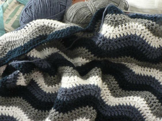 """Crochet ripple blanket blues and grays."" Another very warm looking crocheted blanket."