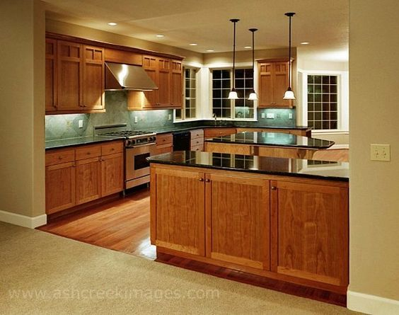 Kitchen oak cabinets countertops floor and backsplash for American maple kitchen cabinets
