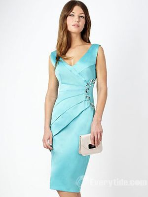 Wholesale Vintage Sheath / Column Satin Blue Homecoming Dresses