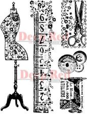 DEEP RED RUBBER CLING STAMP SEWING KIT TAPE MEASURE SCISSORS BUTTONS #4X604219