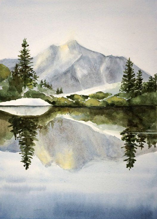 Morning Landscape Original Watercolor Painting Mountains Forest