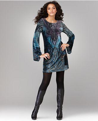 One World Dress, Long Sleeve Printed Velvet Shift