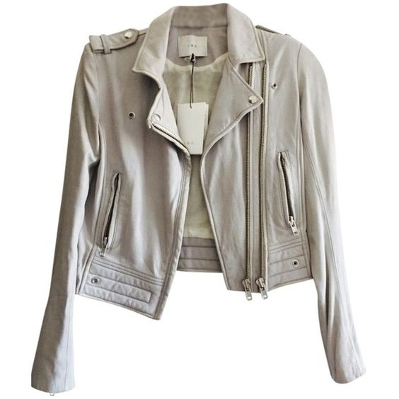 Pre-owned Iro Leather Motorcycle Moto Motorcycle Jacket ($664) ❤ liked on Polyvore featuring outerwear, jackets, grey, leather jacket, rider jacket, real leather jacket, grey jacket and biker jacket