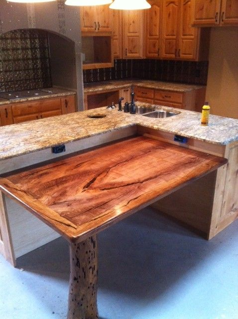 Custom Mesquite Table Attached To Kitchen Island By Terry Lankford