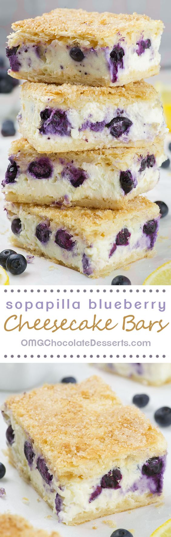 Sopapilla Blueberry Cheesecake Bars Dessert Recipe via OMG Chocolate Desserts - 5 minutes of prep time, 6 simple ingredients and the best Sopapilla Blueberry Cheesecake Bars you've ever tasted is ready! #dessertbars #cookiebars #barsrecipes #dessertforacrowd #partydesserts #christmasdesserts #holidaydesserts #onepandesserts