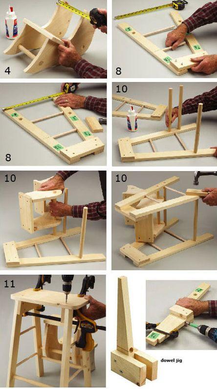 Diy fold up pine stepping stool homehardware diy stool for Silla escalera plegable planos