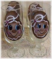 gingerbread goblets: Gingerbread Cuteness, Gingerbread Crafts, Collect Gingerbread, Bottles, Gingerbread Man Wine Glass, Wine Glasses Dishes, Gingerbread Man Glass, Gingerbread Christmas