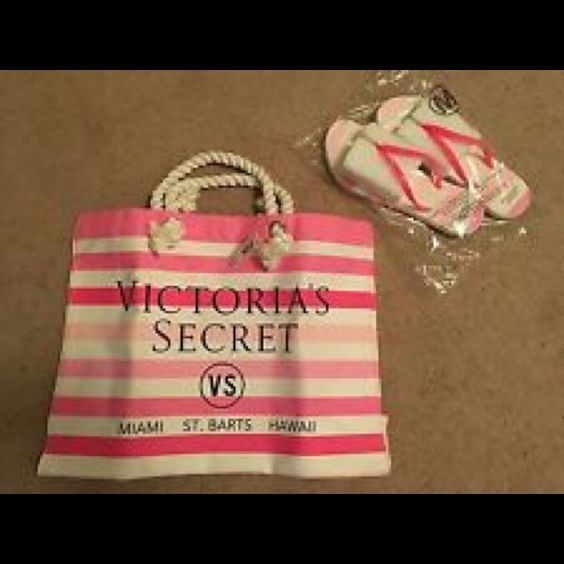 """Victoria Secret Beach Bag and Flip flops Brand new in bag, VS beach bag and flip flops.  Soft rope handles, flat bottom pink and white stripes.  Bag measures 14"""" high, 18"""" wide and 6"""" inches across.  Flip flops are Medium and should fit 8-9. Victoria's Secret Bags Totes"""
