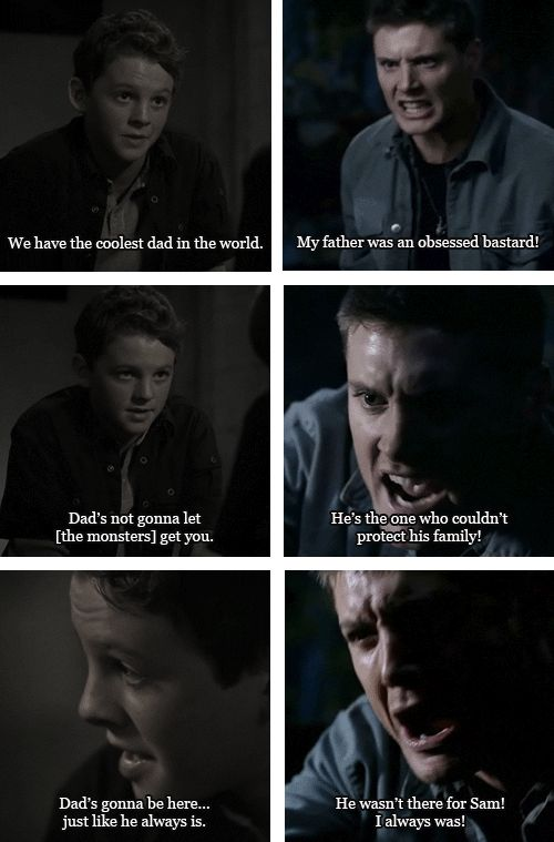 I love this because it just shows that Dean's number one priority was always ALWAYS to take care of Sammy.  In the first set he's trying to comfort young Sam and make him feel better, and the second set you see how much it really cost him to be the one who did that.