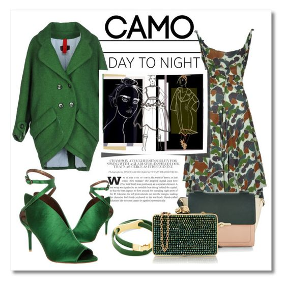 """Camo Day To Night #camostyle"" by leoll ❤ liked on Polyvore featuring Michele Rossi, Max Studio, Comme des Garçons, BCBGMAXAZRIA, Accessorize, Wilbur & Gussie and camostyle"