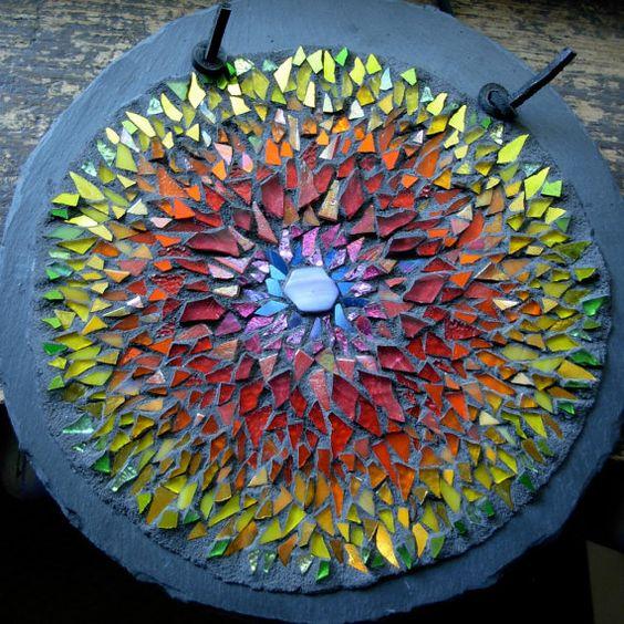 Rainbow in Bloom Mandala Mosaic by nutmegdesigns on Etsy, $174.00