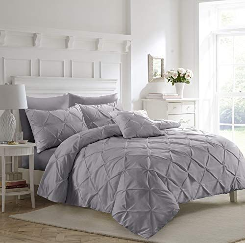 PINTUCK DUVET COVERS LUXURY BEDDING SET QUILT COVER SINGLE DOUBLE SUPER KING