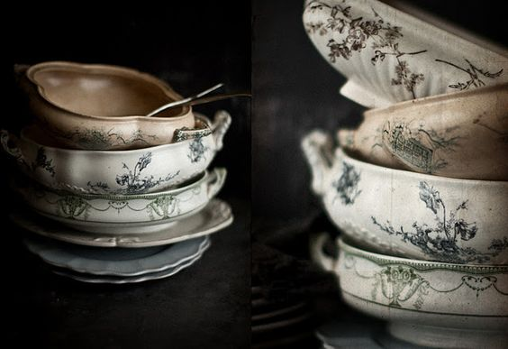 French antique soup tureens without lids